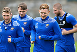 St Johnstone Training….14.08.20<br />Liam Craig all smiles during training this morning at McDiarmid Park after making his 400th appearance against Rangers on Wednesday night.<br />Picture by Graeme Hart.<br />Copyright Perthshire Picture Agency<br />Tel: 01738 623350  Mobile: 07990 594431