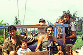 Juruena, Mato Grosso State, Brazil. Settler family in ramshackle truck.