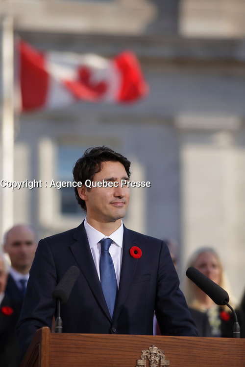 The Canadian flag fly above Justin Trudeau during his  first speech as Canadian  Prime Minister, on the grounds of Rideau Hall in Ottawa, Ontario, on Wednesday, November 4, 2015.<br /> <br /> <br /> PHOTO : Pierre Roussel<br /> - Agence Quebec Presse