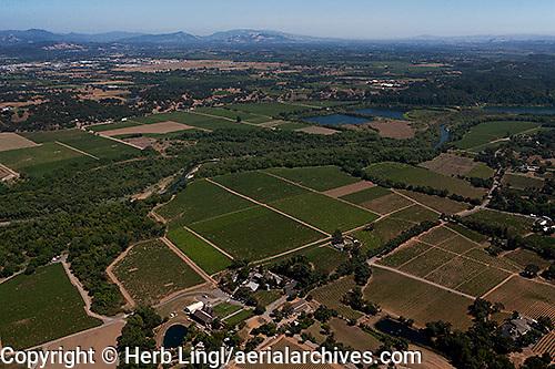 Aerial photograph Rochioli Vineyards Healdsburg Russian River Sonoma Coast Pinot Noir vineyards