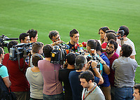 Valencia, Spain. Wednesday 18 September 2013<br /> Pictured: Pablo Hernandez interviewed by journalists.<br /> Re: Swansea City FC training ahead of their UEFA Europa League game against Valencia C.F. at the Estadio Mestalla, Spain,
