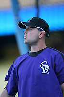 Matt Holliday of the Colorado Rockies during batting practice before a game against the Los Angeles Dodgers in a 2007 MLB season game at Dodger Stadium in Los Angeles, California. (Larry Goren/Four Seam Images)