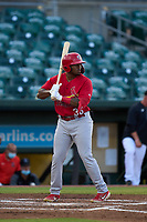 Palm Beach Cardinals L.J. Jones (36) bats during a game against the Jupiter Hammerheads on May 11, 2021 at Roger Dean Chevrolet Stadium in Jupiter, Florida.  (Mike Janes/Four Seam Images)
