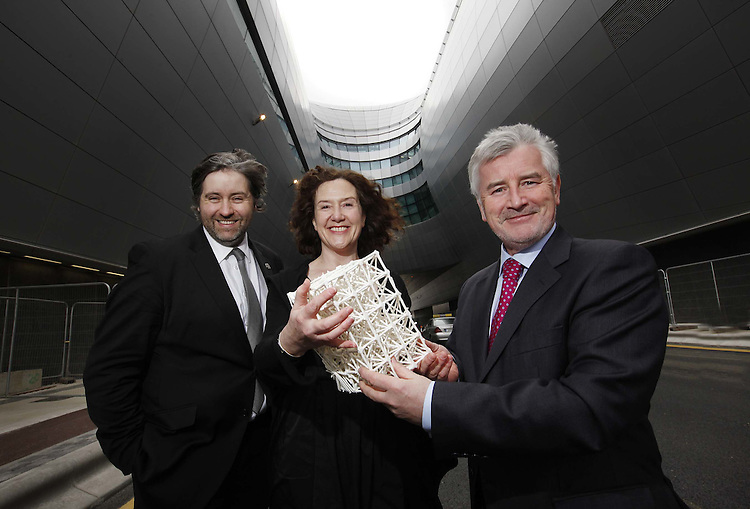 .Art & Architecture merge for Awards..Announcing the sculptor for this year's Allianz Business to Arts Awards at Terminal 2 in Dublin Airport were Business to Arts chief executive Stuart McLaughlin (left), sculptor Nuala O'Donovan, and Declan Collier, chief executive of the DAA. Pic Robbie Reynolds. Commissioned by the DAA for the last 19 years, this year's award constructed in porcelain is entitled 'The Sum of its' Parts'. The closing date for nominations for the awards is Wednesday 24 March..