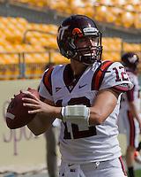 Virginia Tech quarterback Trey Gresh. The Pitt Panthers defeated the Virginia Tech Hokies 35-17 at Heinz field in Pittsburgh, PA on September 15, 2012.