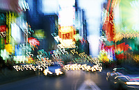 USA, New York, New York City. View of blurred traffic