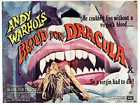 BNPS.co.uk (01202) 558833. <br /> Pic: Ewbank'sAuctions/BNPS<br /> <br /> Pictured: This poster for Andy Warhol's  Blood for Dracula sold for £375. <br /> <br /> A selection of classic horror and sci-fi film posters have sold for £85,000.<br /> <br /> The marquee lot was a British quad 30ins by 40ins poster for Forbidden Planet which fetched £12,000, three times its estimate.<br /> <br /> It features the memorable first image of Robby the Robot holding a damsel in distress.<br /> <br /> A poster promoting the Christopher Lee film Dr Terror's House of Horrors (1965) also outperformed expectations, selling for £2,750, while one advertising the first Star Wars film (1977) fetched £4,750.<br /> <br /> The posters, which were consigned by different collectors, sparked a bidding war with Ewbank's Auctions, of Woking, Surrey.