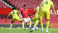Mason Greenwood of Manchester United gets ready to take a shot at the Brentford goal during Manchester United vs Brentford, Friendly Match Football at Old Trafford on 28th July 2021