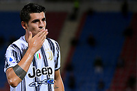 Alvaro Morata of Juventus FC celebrates after scoring the goal of 1-1 during the Serie A football match between FC Crotone and Juventus FC at stadio Ezio Scida in Crotone (Italy), October 17th, 2020. Photo Federico Tardito / Insidefoto