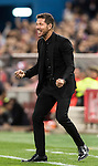 Coach Diego Simeone of Atletico de Madrid celebrates after Yannick Ferreira Carrasco's scoring during their La Liga match between Atletico de Madrid and Granada CF at the Vicente Calderon Stadium on 15 October 2016 in Madrid, Spain. Photo by Diego Gonzalez Souto / Power Sport Images