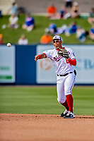 7 March 2019: Washington Nationals top infield prospect Luis Garcia in action during a Spring Training Game against the New York Mets at the Ballpark of the Palm Beaches in West Palm Beach, Florida. The Nationals defeated the visiting Mets 6-4 in Grapefruit League, pre-season play. Mandatory Credit: Ed Wolfstein Photo *** RAW (NEF) Image File Available ***