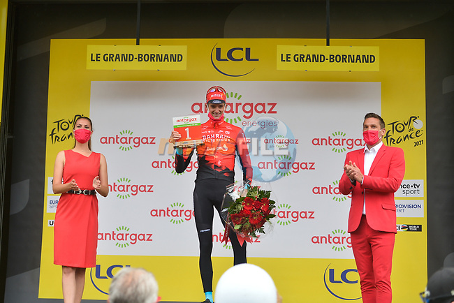 Wout Poels (NED) Bahrain Victorious wins the days combativity prize at the end of Stage 8 of the 2021 Tour de France, running 150.8km from Oyonnax to Le Grand-Bornand, France. 3rd July 2021.  <br /> Picture: A.S.O./Charly Lopez | Cyclefile<br /> <br /> All photos usage must carry mandatory copyright credit (© Cyclefile | A.S.O./Charly Lopez)