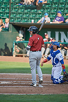 Brady Cox (7) of the Idaho Falls Chukars bats against the Ogden Raptors at Lindquist Field on July 2, 2018 in Ogden, Utah. The Raptors defeated the Chukars 11-7. (Stephen Smith/Four Seam Images)