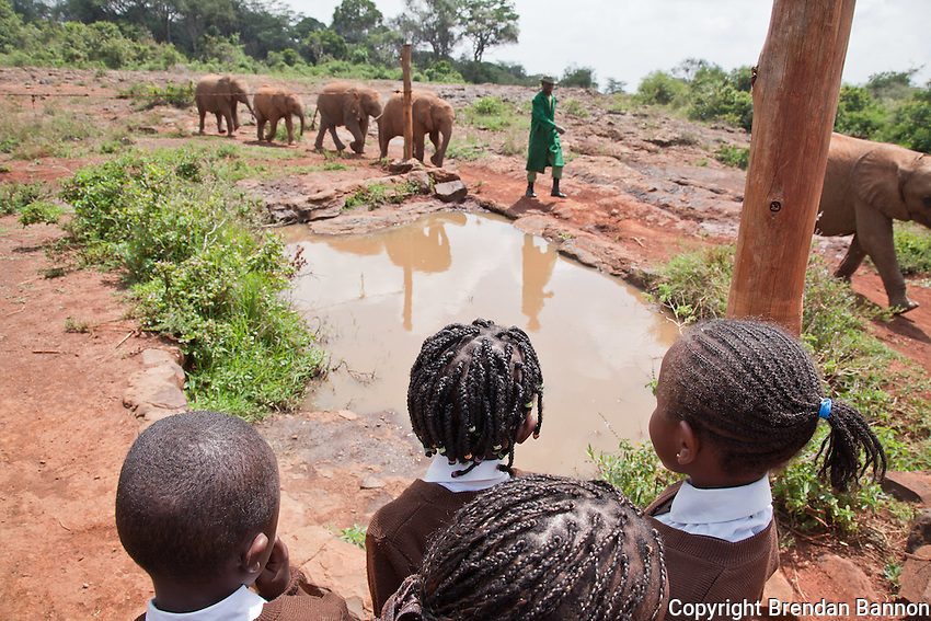 Kenyan School children on a  field trip to The David Sheldrick Wildlife Trust in Nairobi National Park.