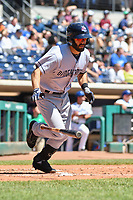 Levi Michael (3) of the Binghamton Rumble Ponies runs down the first base line during a game against the Hartford Yard Goats at Dunkin Donuts Park on May 9, 2018 in Hartford, Connecticut. (Gregory Vasil/Four Seam Images)