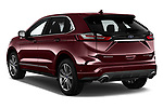 Car pictures of rear three quarter view of a 2019 Ford Edge Titanium 5 Door SUV angular rear