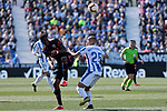 CD Leganes's Martin Braithwaite and Valencia CF' Geoffrey Kondogbia during La Liga match, Round 25 between CD Leganes and Valencia CF at Butarque Stadium in Leganes, Spain. February 24, 2019. (ALTERPHOTOS/A. Perez Meca)