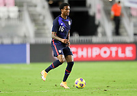 FORT LAUDERDALE, FL - DECEMBER 09: Kyle Duncan #16 of the United States turns and moves with the ball during a game between El Salvador and USMNT at Inter Miami CF Stadium on December 09, 2020 in Fort Lauderdale, Florida.