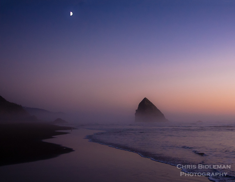 Gift card photo of Twilight during Cannon Beach Sunset with half moon rising and waves rolling onto sandy beach