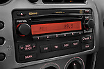 Stereo audio system close up detail view of a 2008 Toyota Matrix wagon