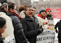 Matthew Coon Come Crees stand against uranium mining in northen quebec, december 16, 2014 in downtown Montreal,Qc, CANADA.<br /> <br /> PHOTO : Agence Quebec Presse - stringer
