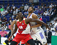 13th October 2021; Wizink Center; Madrid, Spain; Turkish Airlines Euroleague Basketball; game 3; Real Madrid versus AS Monaco; Edy Tavares (Real Madrid Baloncesto) and Jerry Boutsiele (AS Monaco) fighting for position on the rebound