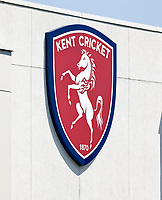 A large Kent cricket sign is seen on the pavilion during Kent Spitfires vs Durham, Royal London One-Day Cup Cricket at The Spitfire Ground on 22nd July 2021