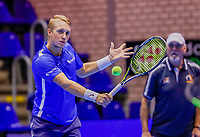 Rotterdam, Netherlands, December 13, 2017, Topsportcentrum, Ned. Loterij NK Tennis,  Jelle Sels (L)  (NED)<br /> Photo: Tennisimages/Henk Koster