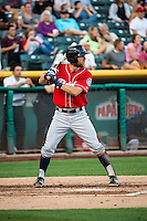 Chris Taylor (20) of the Tacoma Rainiers at bat against the Salt Lake Bees in Pacific Coast League action at Smith's Ballpark on September 2, 2015 in Salt Lake City, Utah. Tacoma defeated Salt Lake 13-6.  (Stephen Smith/Four Seam Images)