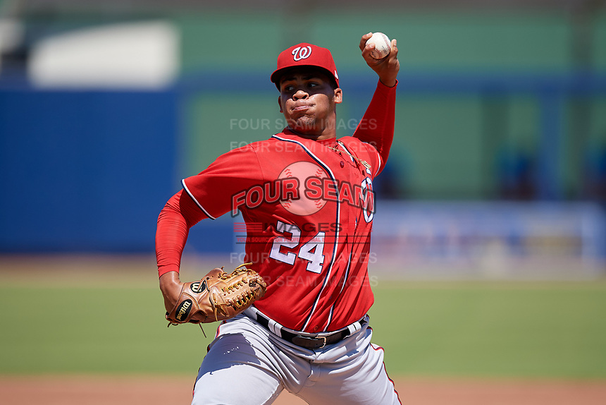 Washington Nationals pitcher Bryan Pena (24) during an Instructional League game against the Miami Marlins on September 26, 2019 at FITTEAM Ballpark of The Palm Beaches in Palm Beach, Florida.  (Mike Janes/Four Seam Images)