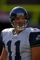 Nov. 6, 2005; Tempe, AZ, USA; Quarterback (11) David Greene of the Seattle Seahawks against the Arizona Cardinals at Sun Devil Stadium. Mandatory Credit: Mark J. Rebilas
