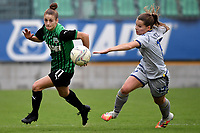 Valeria Monterubbiano of Sassuolo and Sara Mella of Hellas Verona compete for the ball during the women Serie A football match between US Sassuolo and Hellas Verona at Enzo Ricci stadium in Sassuolo (Italy), November 15th, 2020. Photo Andrea Staccioli / Insidefoto