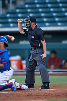 Home plate umpire Jarrod Moehlmann calls a strike on a batter during an Arizona League game between the AZL Dbacks and AZL Cubs 2 on June 25, 2019 at Sloan Park in Mesa, Arizona. AZL Cubs 2 defeated the AZL Dbacks 4-0. (Zachary Lucy/Four Seam Images)
