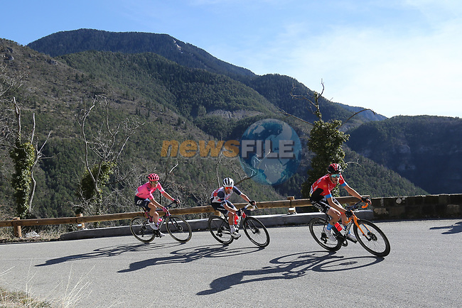 Dylan Teuns (BEL) Bahrain Victorious, Kenny Elissonde (FRA) Trek-Segafredo and Neilson Powless (USA) EF Education-Nippo from the breakaway climb La Colmiane during Stage 7 of Paris-Nice 2021, running 119.2km from Le Broc to Valdeblore La Colmiane, France. 13th March 2021.<br /> Picture: ASO/Fabien Boukla | Cyclefile<br /> <br /> All photos usage must carry mandatory copyright credit (© Cyclefile | ASO/Fabien Boukla)