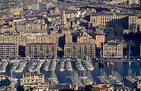The Old Port and the Panier district, seen from the Notre-Dame de la Garde basilica, Marseille, France.