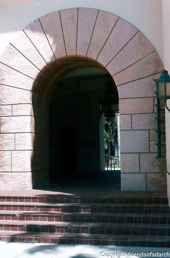 """Mission Revival Houses, Buildings: San Diego State, """"Mission Revival"""" knockoff. WPA project? Photo '78."""
