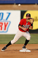 Dillon Hazlett #12 of the High Desert Mavericks takes a throw at second base during a game against the Modesto Nuts at Stater Bros. Stadium on June 29, 2013 in Adelanto, California. Modesto defeated High Desert, 7-2. (Larry Goren/Four Seam Images)