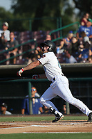 Brennon Lund (8) of the Inland Empire 66ers bats against the Rancho Cucamonga Quakes at San Manuel Stadium on July 29, 2017 in San Bernardino, California. Inland Empire defeated Rancho Cucamonga, 6-4. (Larry Goren/Four Seam Images)