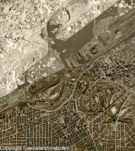 historical aerial photo map of the downtown Cleveland, Ohio waterfront in late winter as ice on Lake Erie begins breaking up, 1962