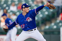 Round Rock Express pitcher Daniel McCutchen (27) delivers a pitch to the plate during the Pacific Coast League baseball game against the Omaha Storm Chasers on June 1, 2014 at the Dell Diamond in Round Rock, Texas. The Express defeated the Storm Chasers 11-4. (Andrew Woolley/Four Seam Images)