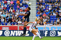 HARRISON, NJ - SEPTEMBER 29: Imani Dorsey #28 of Sky Blue FC heads the ball during a game between Orlando Pride and Sky Blue FC at Red Bull Arena on September 29, 2019 in Harrison, New Jersey.