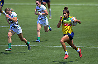 Brazil's Bianca Silva runs in a try during the women's 11th-place playoff against Ireland. Day two of the 2020 HSBC World Sevens Series Hamilton at FMG Stadium in Hamilton, New Zealand on Sunday, 26 January 2020. Photo: Dave Lintott / lintottphoto.co.nz