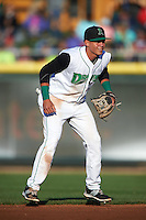 Dayton Dragons shortstop Luis Gonzalez (2) during a game against the Great Lakes Loons on May 21, 2015 at Fifth Third Field in Dayton, Ohio.  Great Lakes defeated Dayton 4-3.  (Mike Janes/Four Seam Images)