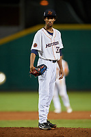 Bowling Green Hot Rods pitcher Resly Linares (30) looks in for the sign during a game against the Peoria Chiefs on September 15, 2018 at Bowling Green Ballpark in Bowling Green, Kentucky.  Bowling Green defeated Peoria 6-1.  (Mike Janes/Four Seam Images)