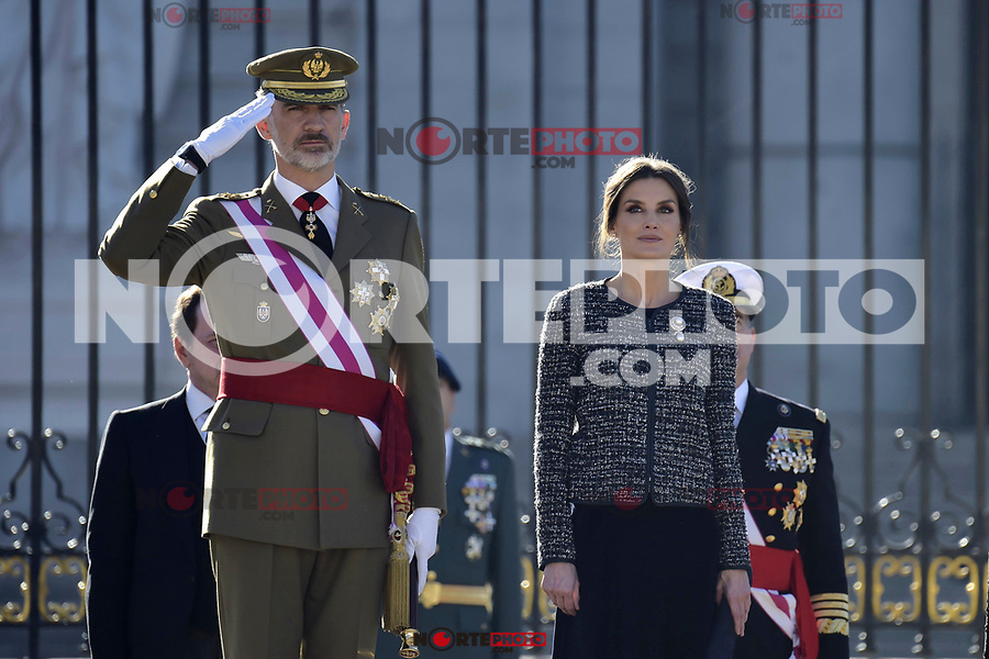 King Felipe VI of Spain and Queen Letizia of Spain attends to Pascua Militar at Royal Palace in Madrid, Spain. January 06, 2019. (ALTERPHOTOS/Pool) /NortePhoto.com