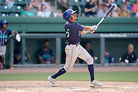 Shortstop AJ Lee (6) of the Asheville Tourists in a game against the Greenville Drive on Sunday, June 6, 2021, at Fluor Field at the West End in Greenville, South Carolina. (Tom Priddy/Four Seam Images)