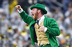 November 4, 2017; The Leprechaun cheers during the game against Wake Forest. (Photo by Matt Cashore)