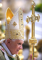 Pope Benedict XVI during a mass in St. Peter's Basilica at the Vatican on the occasion of the conclusion of the XII bishops' synod, Oct. 26, 2008.....