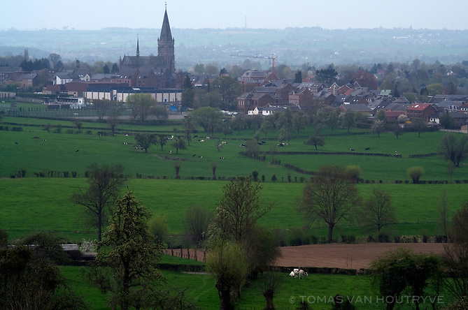 The church and village of Aubel are seen in the Voeren area of Belgium on April 26, 2013.