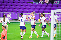 ORLANDO, FL - JANUARY 18: Kristie Mewis #22 of the USWNT celebrates her goal during a game between Colombia and USWNT at Exploria Stadium on January 18, 2021 in Orlando, Florida.
